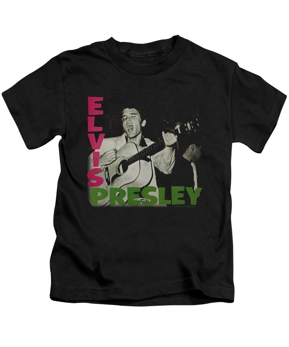 Elvis Kids T-Shirt featuring the digital art Elvis - Elvis Presley Album by Brand A