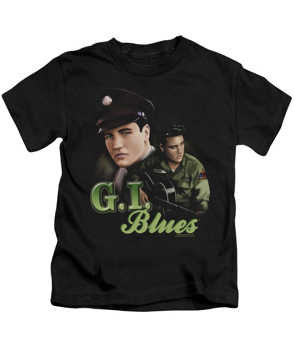Elvis Kids T-Shirt featuring the digital art Elvis - G I Blues by Brand A