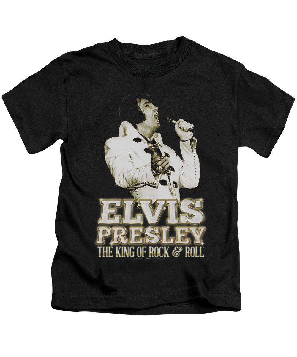 Elvis Kids T-Shirt featuring the digital art Elvis - Golden by Brand A