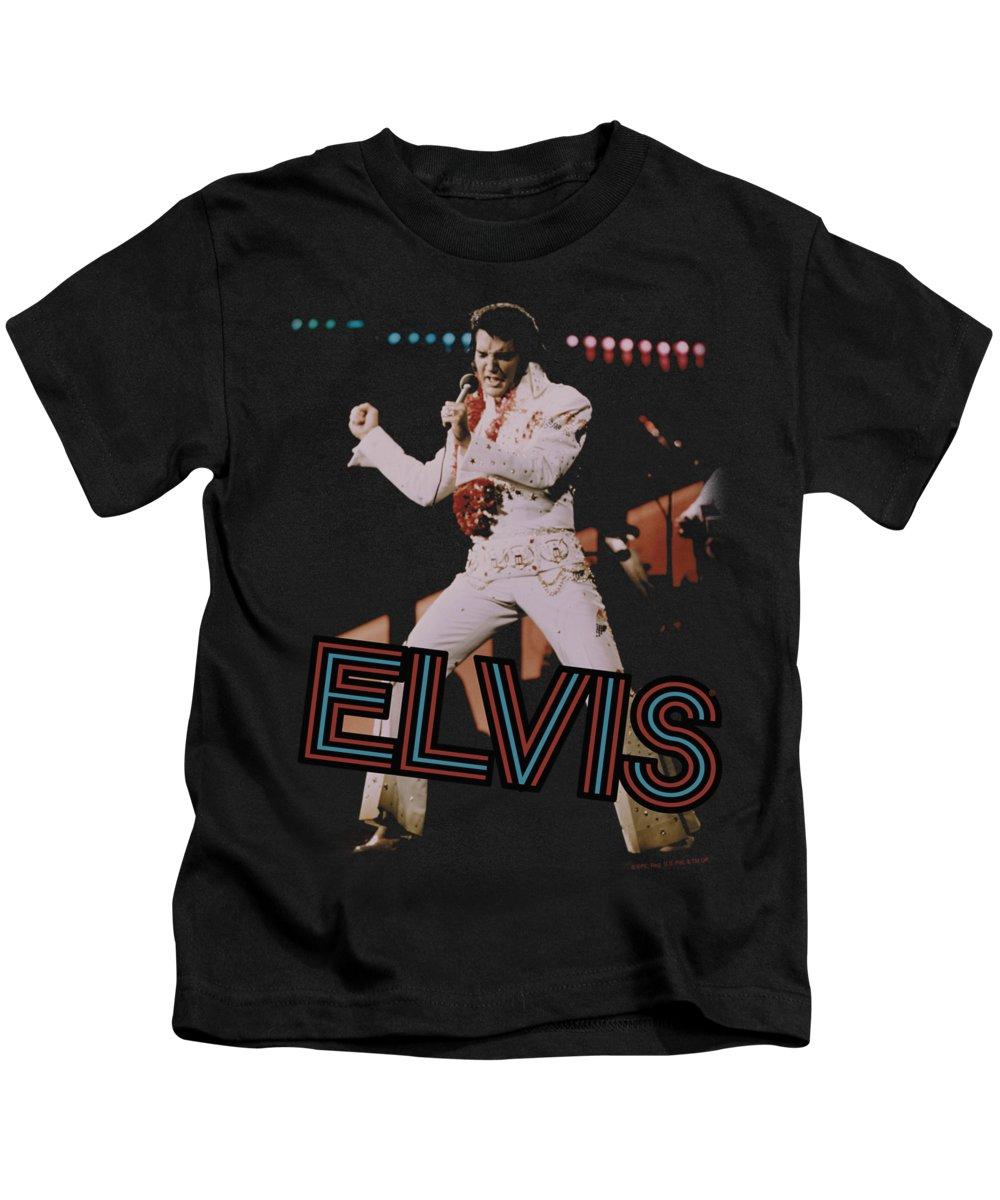 Elvis Kids T-Shirt featuring the digital art Elvis - Hit The Lights by Brand A