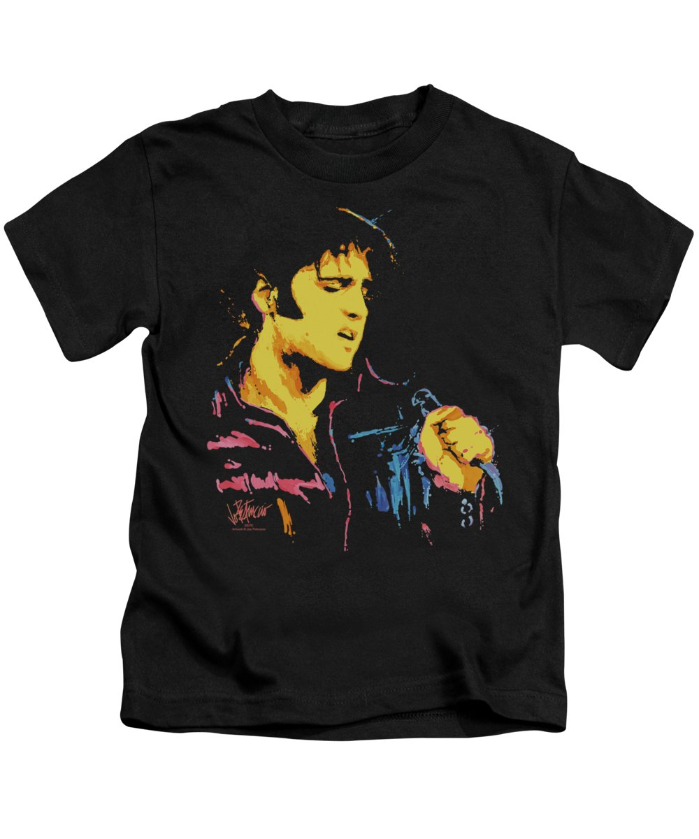 Elvis Kids T-Shirt featuring the digital art Elvis - Neon Elvis by Brand A