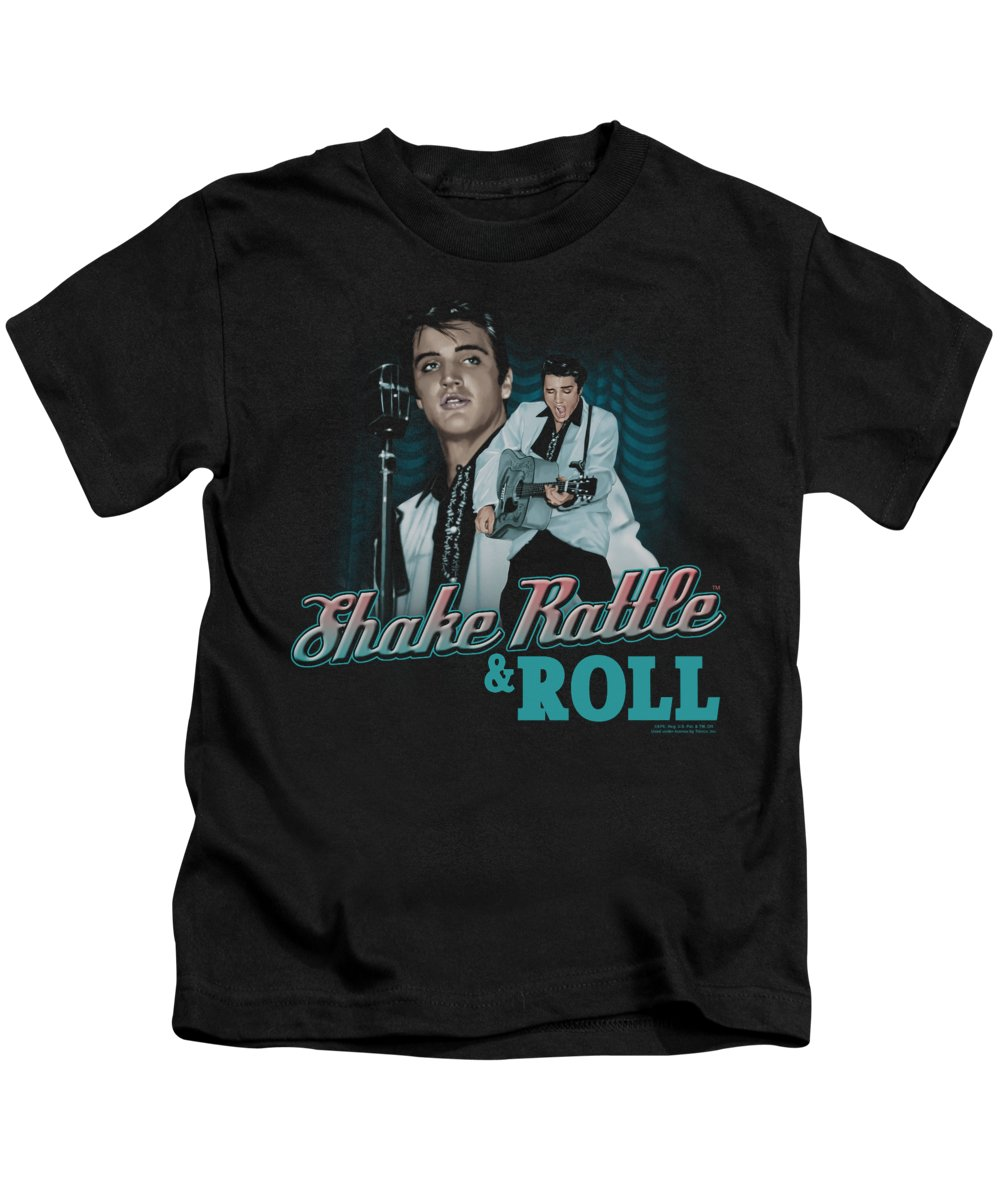Elvis Kids T-Shirt featuring the digital art Elvis - Shake Rattle And Roll by Brand A
