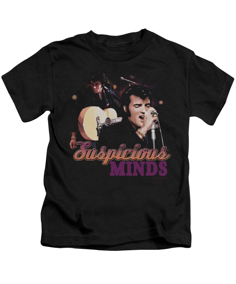 Elvis Kids T-Shirt featuring the digital art Elvis - Suspicious Minds by Brand A