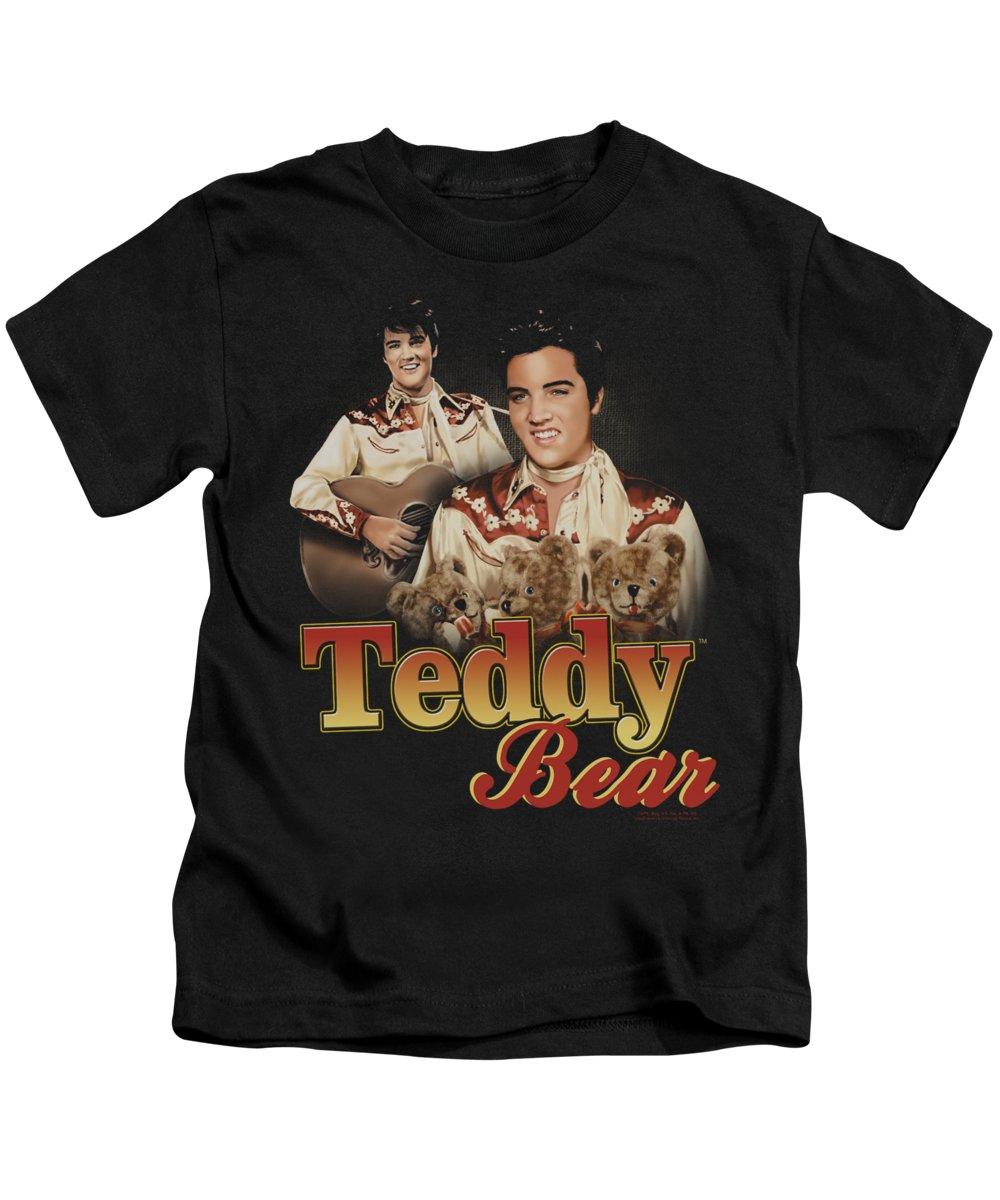 Elvis Kids T-Shirt featuring the digital art Elvis - Teddy Bear by Brand A