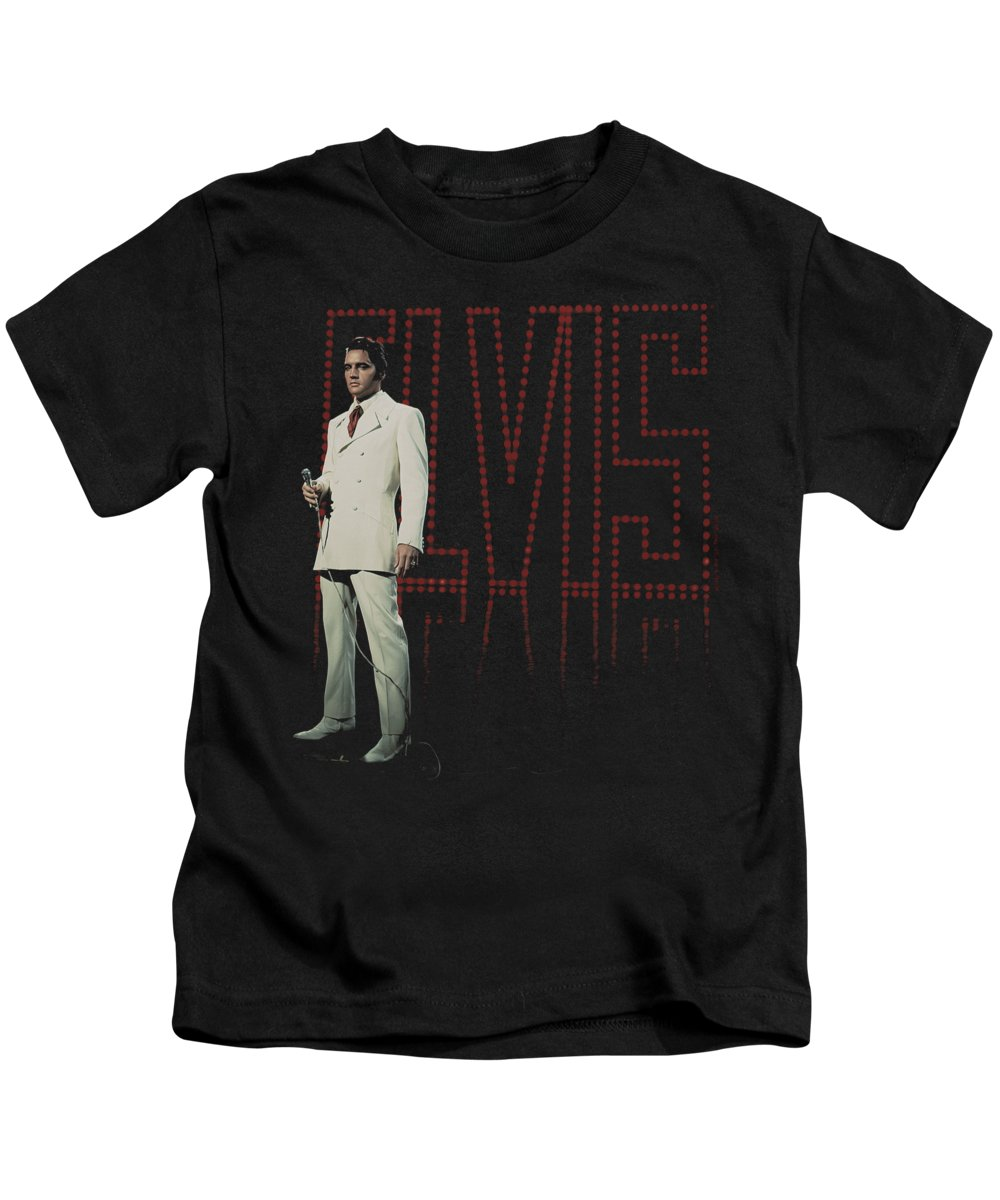 Elvis Kids T-Shirt featuring the digital art Elvis - White Suit by Brand A