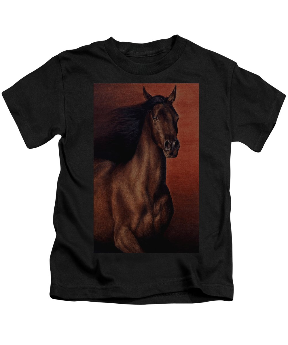 Horse Kids T-Shirt featuring the painting Embers by Pat Erickson