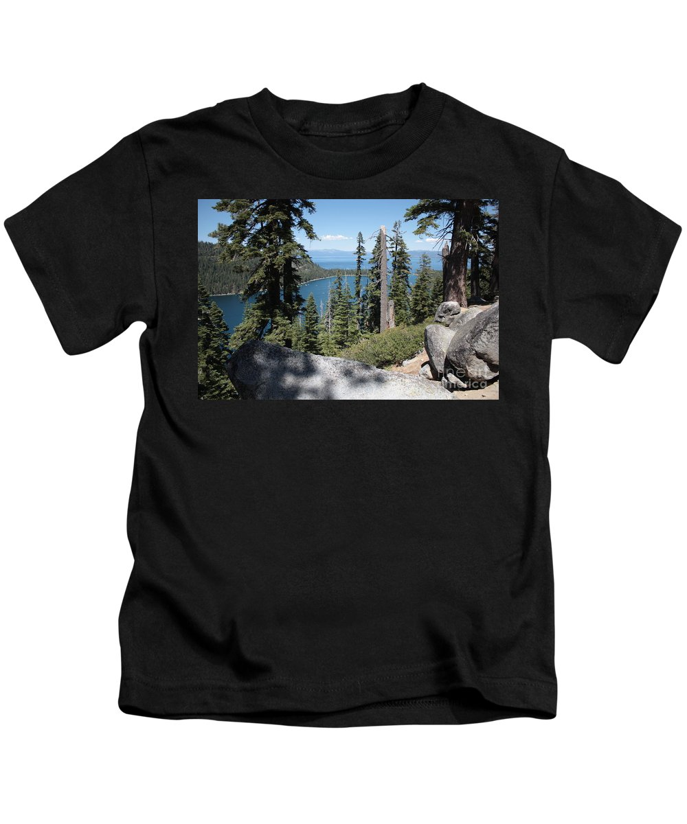 Emerald Bay Kids T-Shirt featuring the photograph Emerald Bay Vista by Carol Groenen