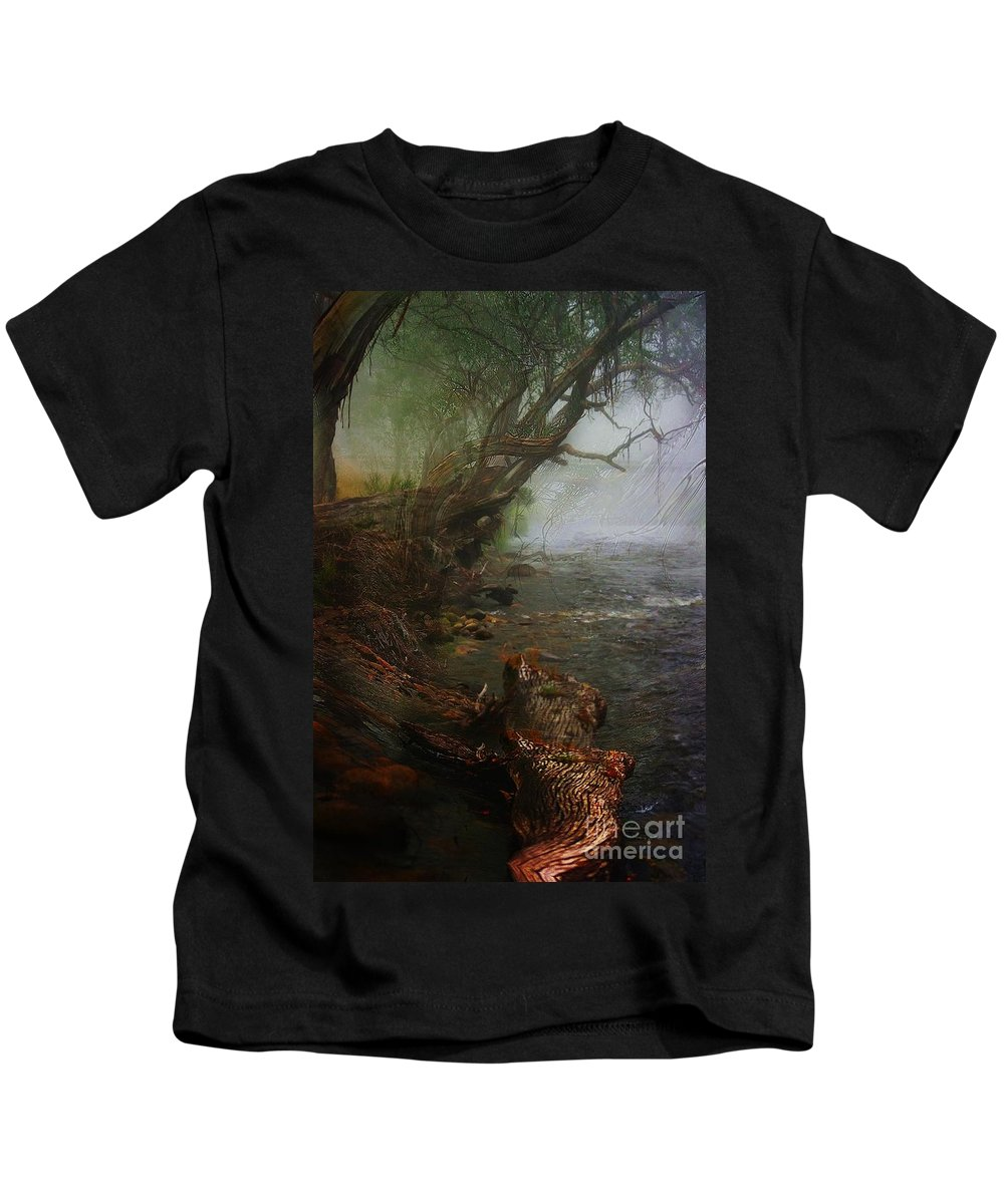 Blair Stuart Kids T-Shirt featuring the photograph Enchanted River In The Mist by Blair Stuart