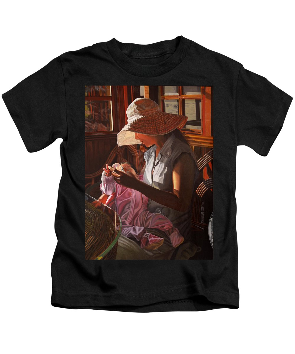 Children Paintings Kids T-Shirt featuring the painting Enfamil At Ha Long Bay Vietnam by Thu Nguyen