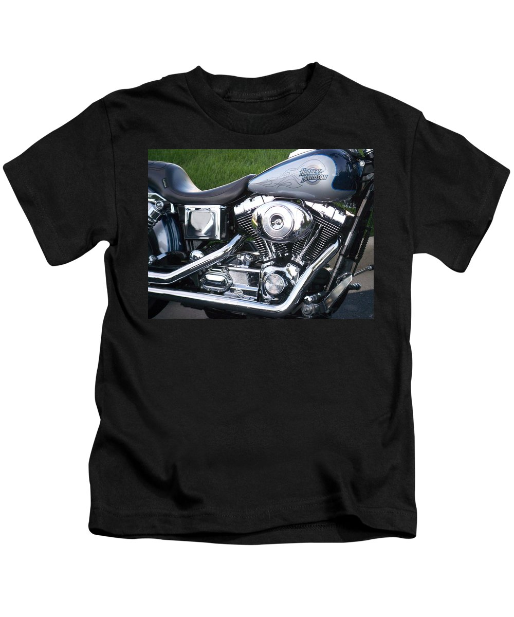 Motorcycles Kids T-Shirt featuring the photograph Engine Close-up 5 by Anita Burgermeister