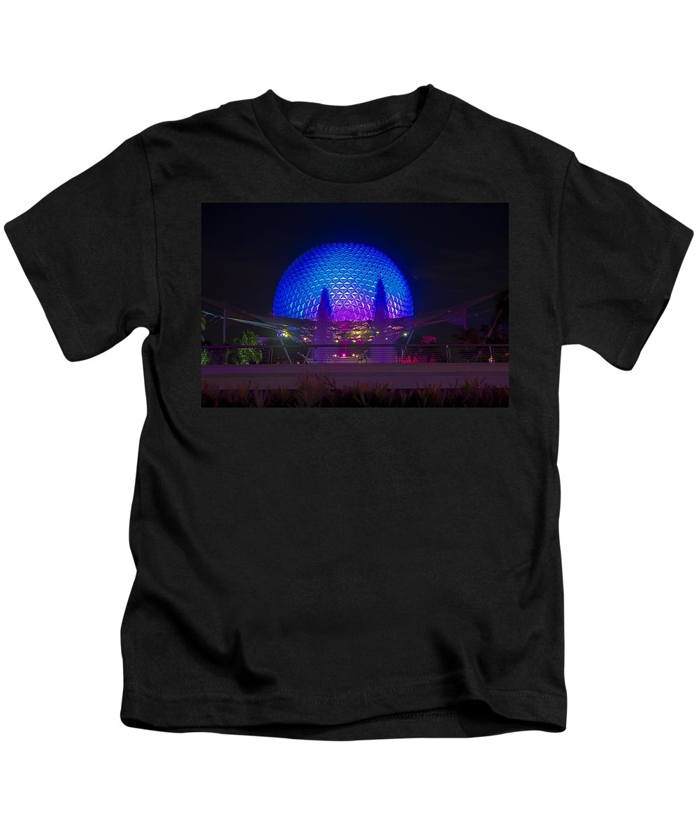 Epcot Kids T-Shirt featuring the photograph Epcot At Night - Spaceship Earth by Jeffrey Miklush