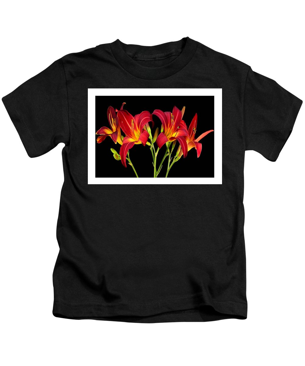 Sensual Kids T-Shirt featuring the mixed media Erotic Red Flower Selection Romantic Lovely Valentine's Day Print by Navin Joshi