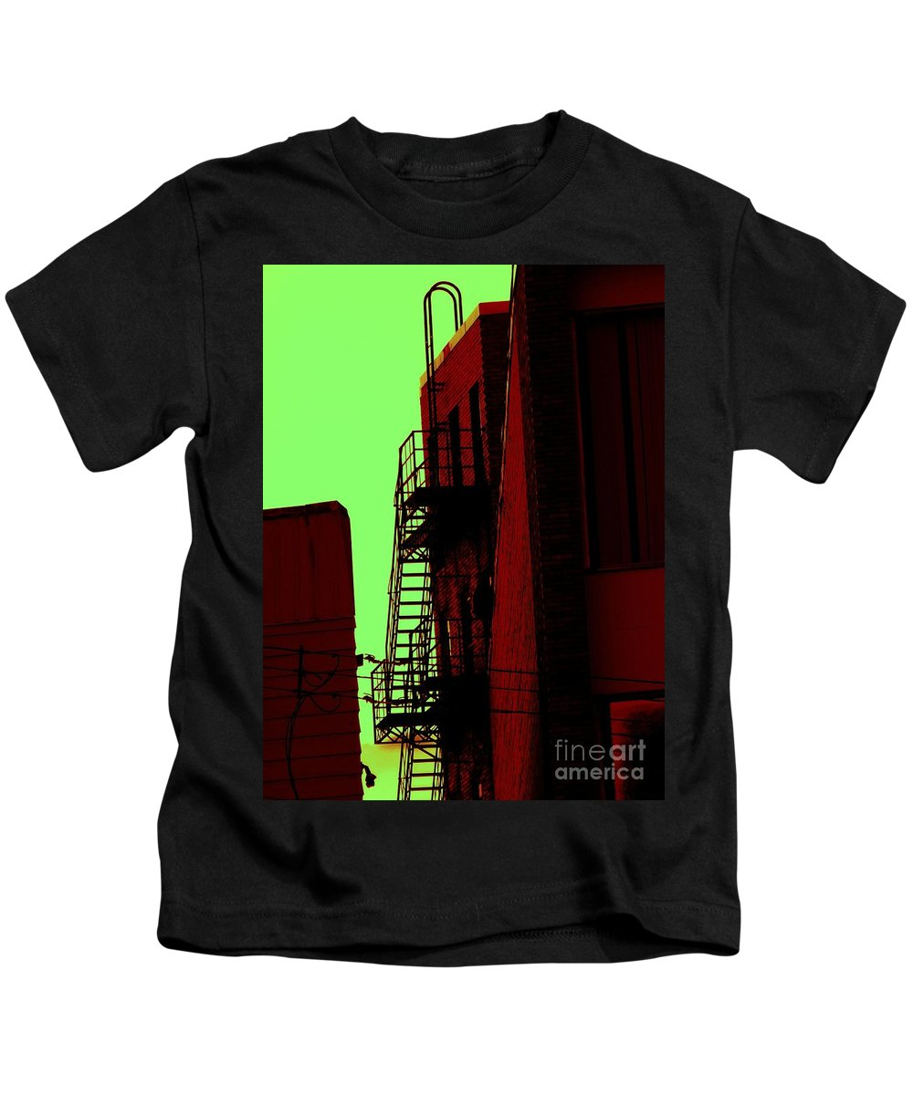 Cincinnati Fire Escape Kids T-Shirt featuring the photograph Escape by Beverly Shelby