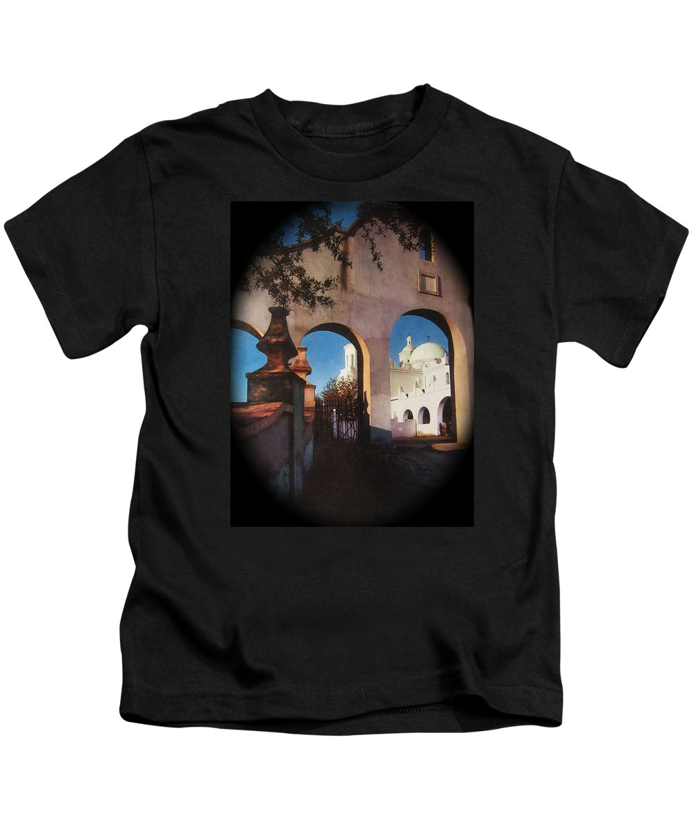 Esther Henderson Rear Entrance San Xavier Mission Tucson Arizona Deardorff View Camera Kids T-Shirt featuring the photograph Esther Henderson Photo Back North Entrance Of San Xavier Mission Tucson Arizona 1957-2013 by David Lee Guss