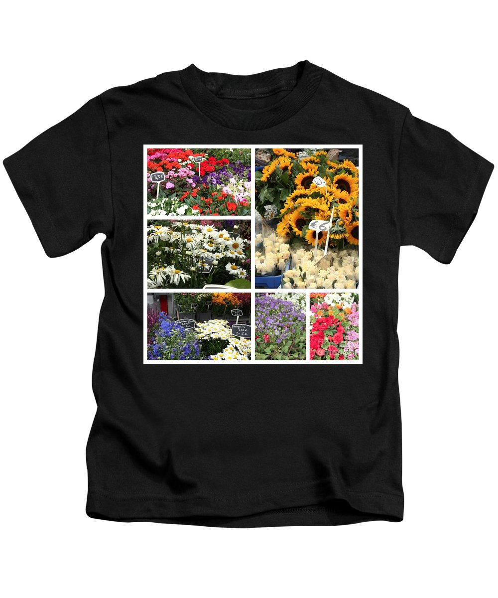 Flowers Kids T-Shirt featuring the photograph European Flower Market Collage by Carol Groenen