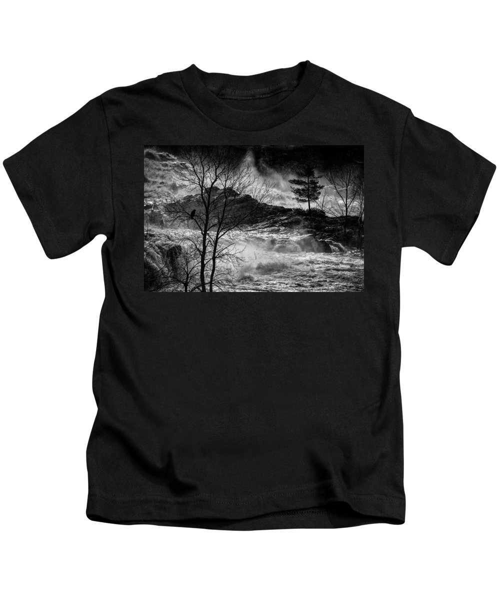 Night Kids T-Shirt featuring the photograph Evening Great Falls Maine by Bob Orsillo