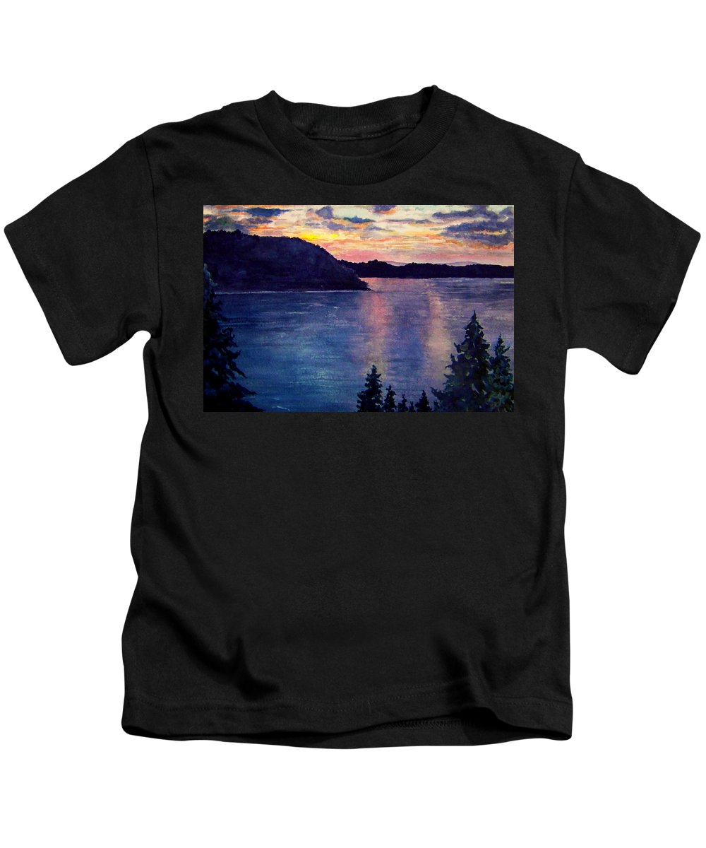 Sunset Kids T-Shirt featuring the painting Evening Song by Brenda Owen