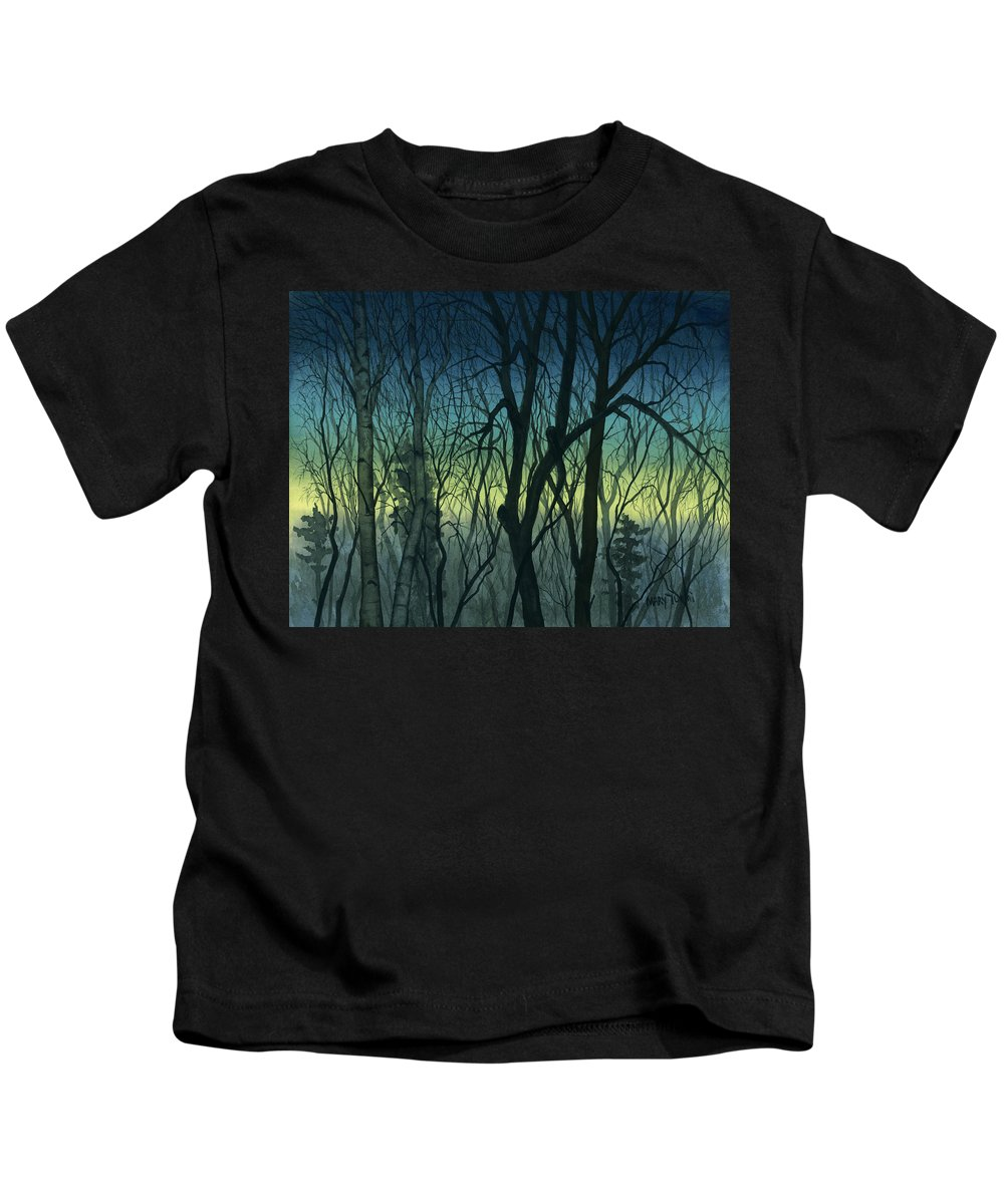 Blue Kids T-Shirt featuring the painting Evening Stand by Mary Tuomi