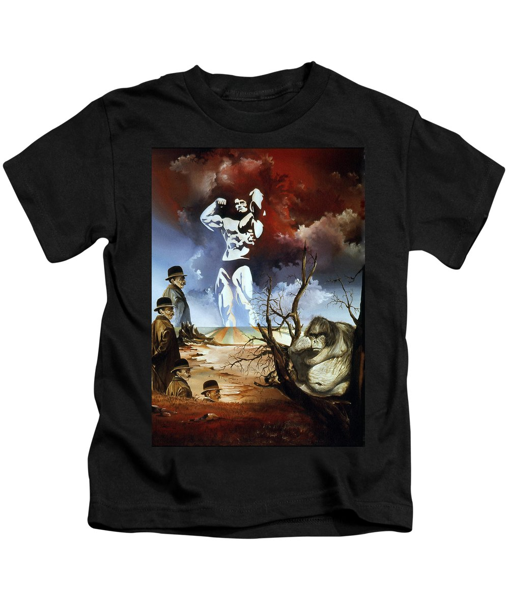 Surrealism Kids T-Shirt featuring the painting Evolution by Otto Rapp