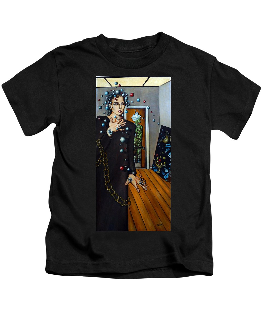 Surreal Kids T-Shirt featuring the painting Existential Thought by Valerie Vescovi