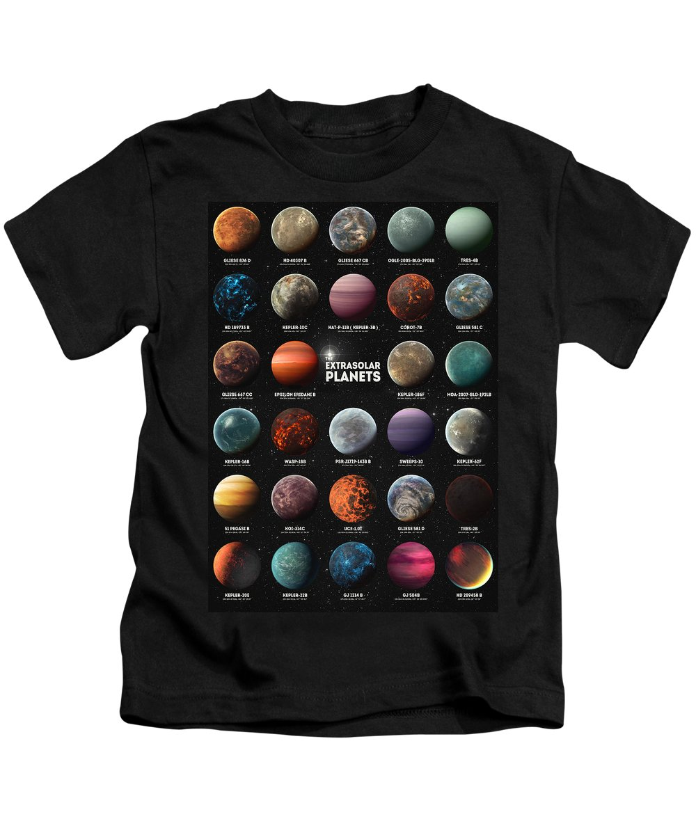 Exoplanets Kids T-Shirt featuring the digital art Exoplanets by Zapista