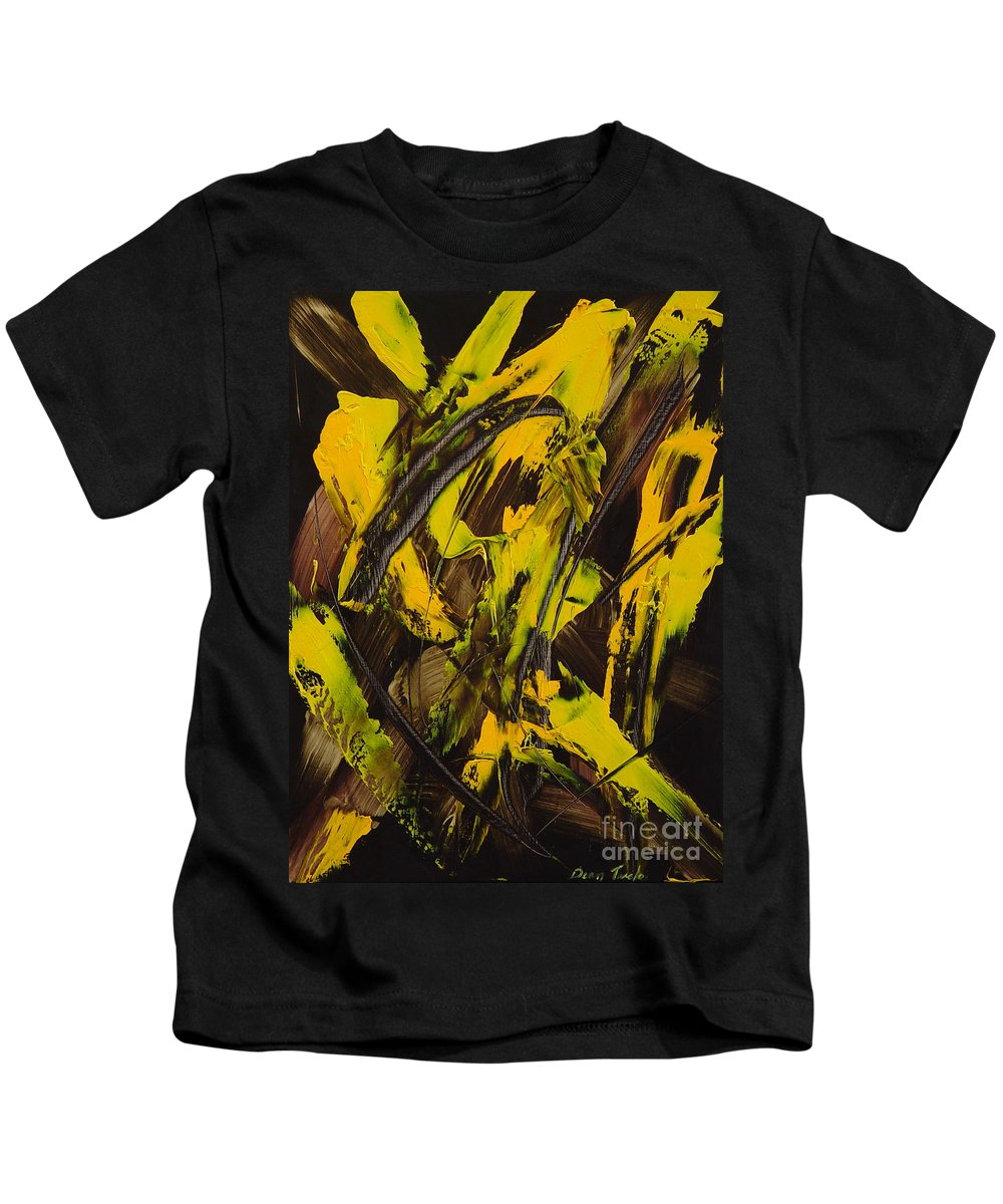 Abstract Kids T-Shirt featuring the painting Expectations Yellow by Dean Triolo