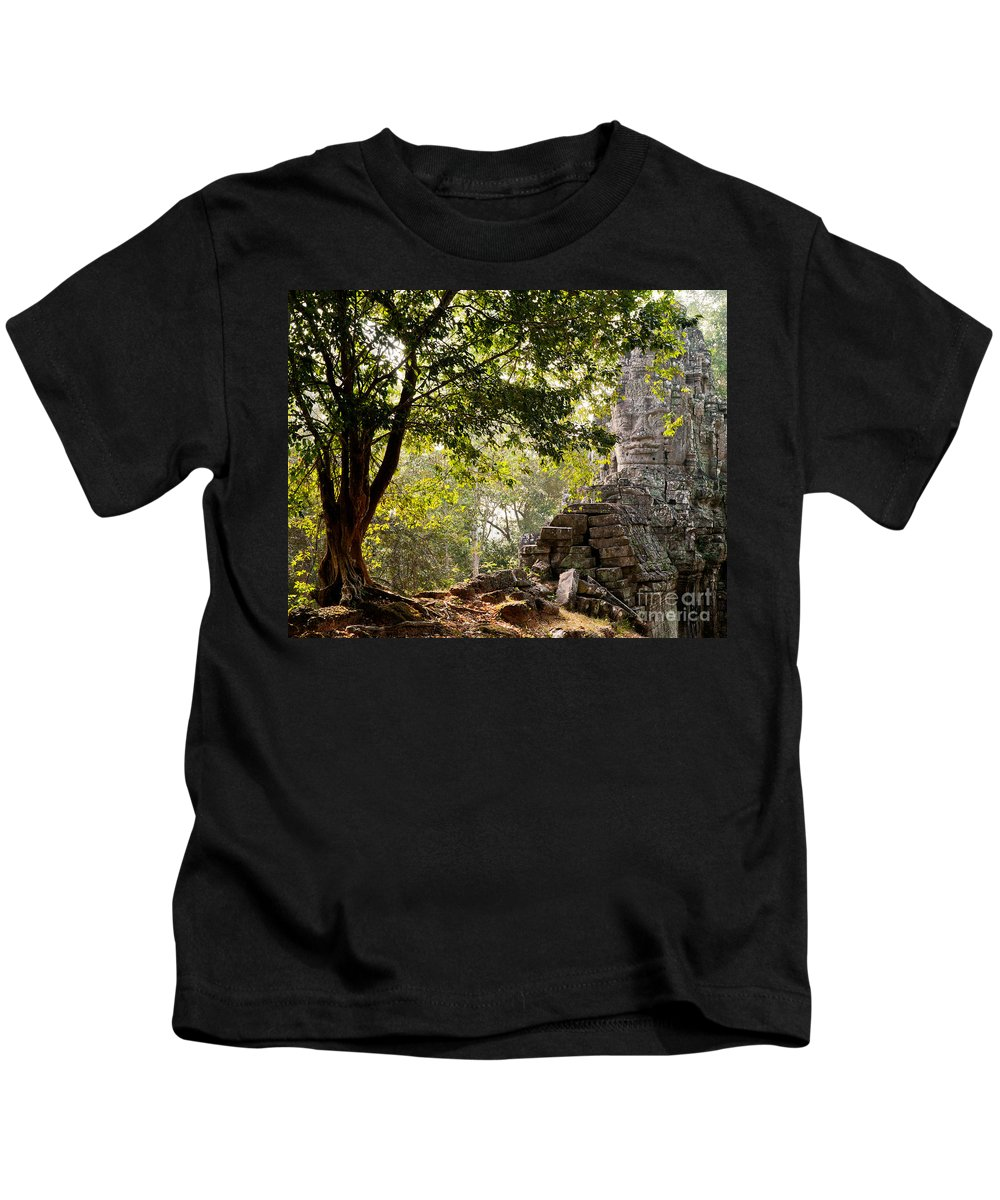 Angkor Kids T-Shirt featuring the photograph Face In The Forest 01 by Rick Piper Photography