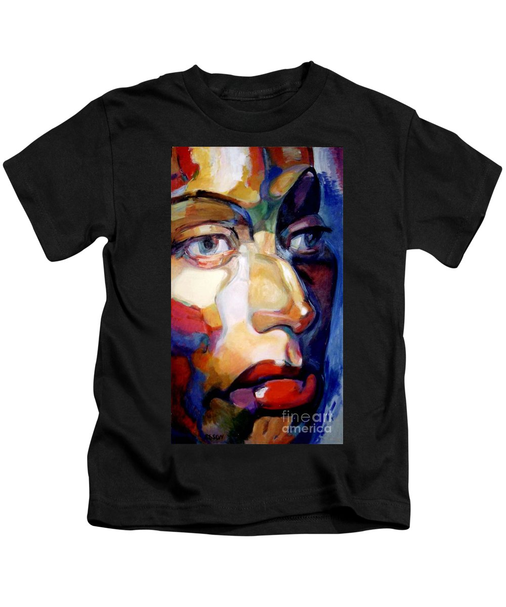 Woman Kids T-Shirt featuring the painting Face Of A Woman by Stan Esson