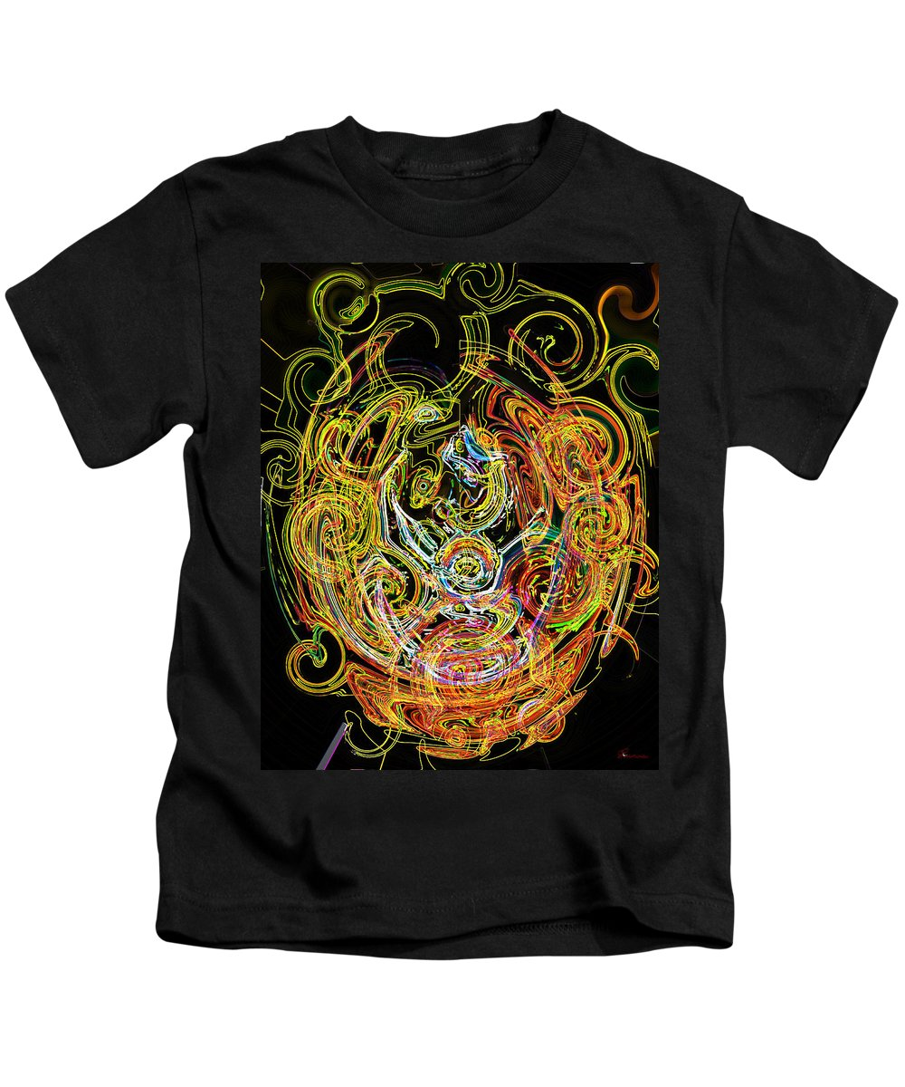 Gold Neon Abstract Faces Art Digital Rainbow Glowing Edges Circles Pink Kids T-Shirt featuring the digital art Faces Of Life by Andrea Lawrence