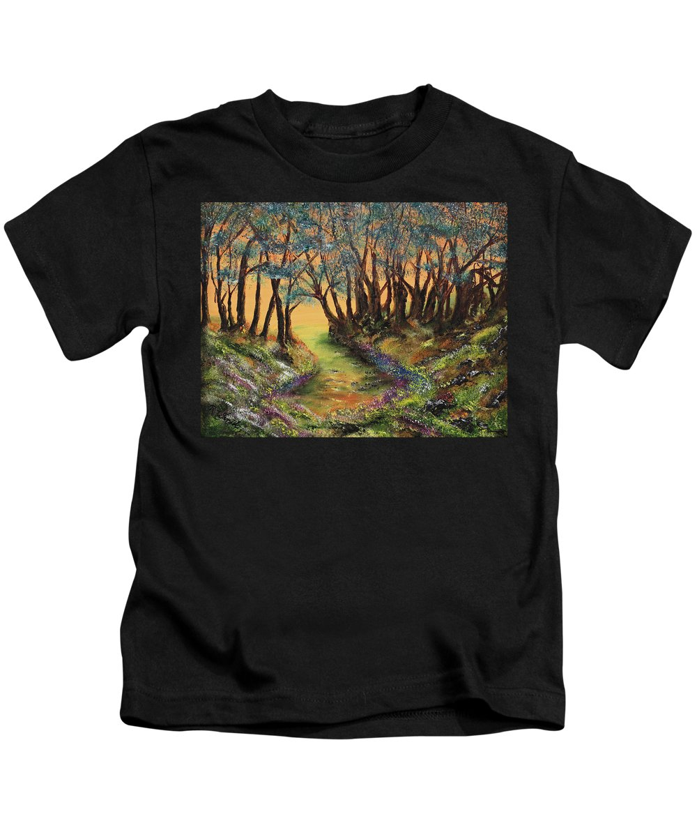 Faeries Kids T-Shirt featuring the painting Faerie's Copse by Regina Wirsich Roberts