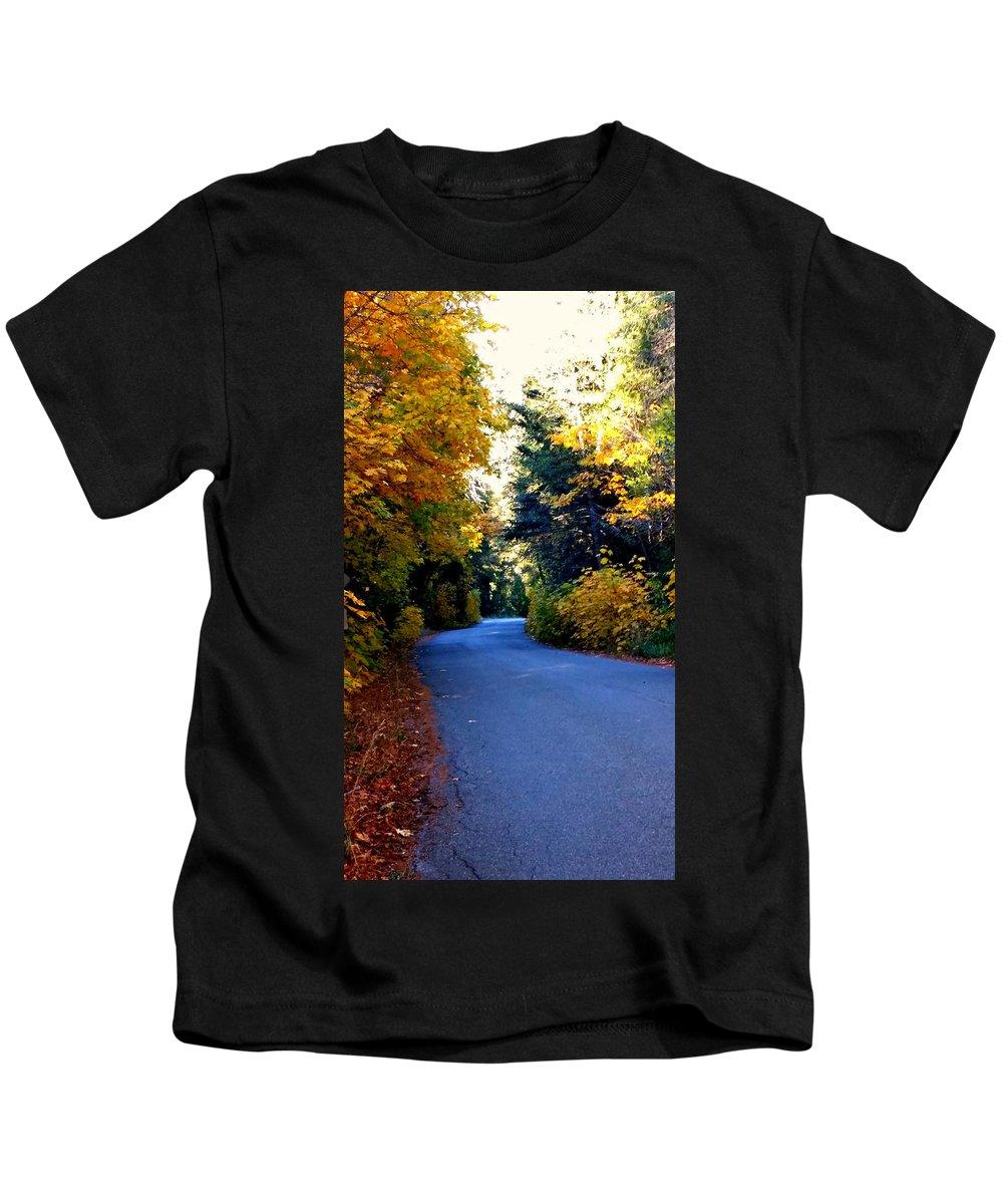 Tree Kids T-Shirt featuring the photograph Fall Path by Matthew Farmer