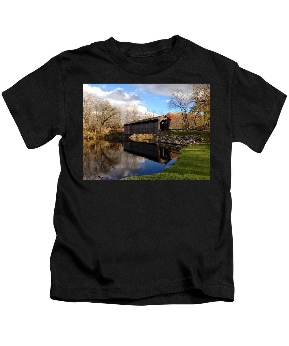 Covered Bridges Kids T-Shirt featuring the photograph Fallasburg Bridge by Michelle Calkins