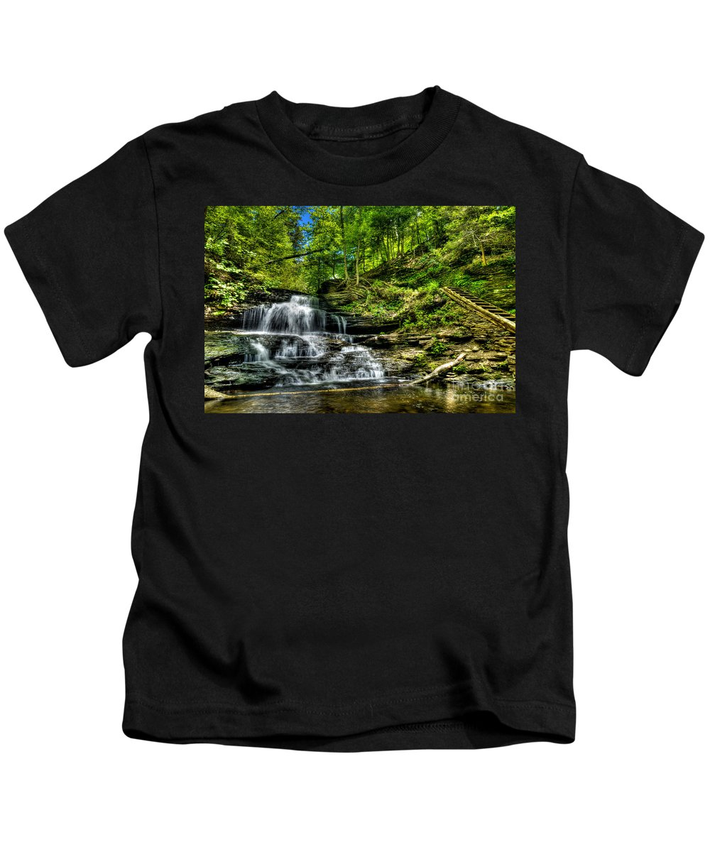 Ricketts Glen Kids T-Shirt featuring the photograph Falls And Steps by Paul W Faust - Impressions of Light