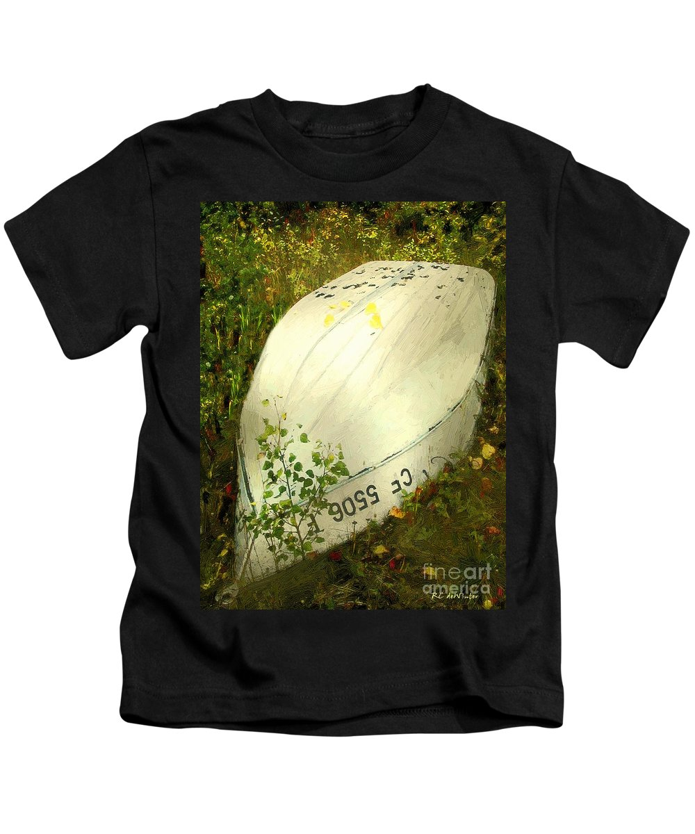 Autumn Kids T-Shirt featuring the painting Far From Home by RC DeWinter