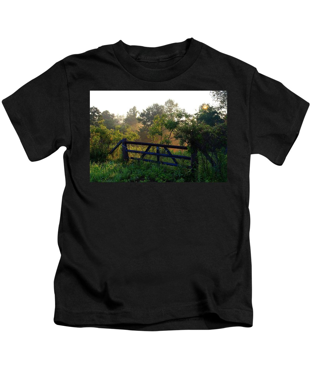 Morning Kids T-Shirt featuring the photograph Farm Gate In Morning Light by Kathryn Meyer
