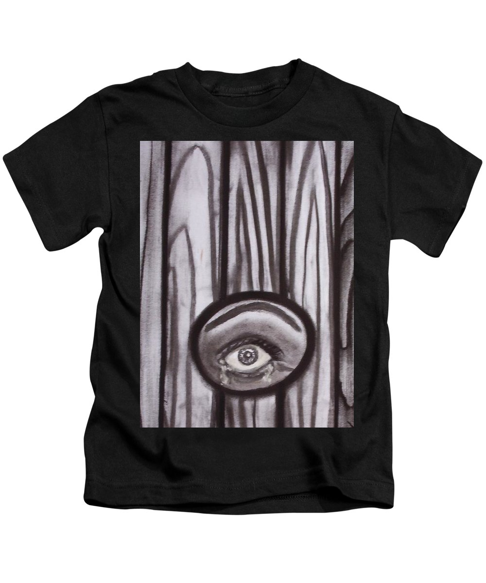 Eyes Kids T-Shirt featuring the drawing Fear - Eye Through Fence by Joan Stratton