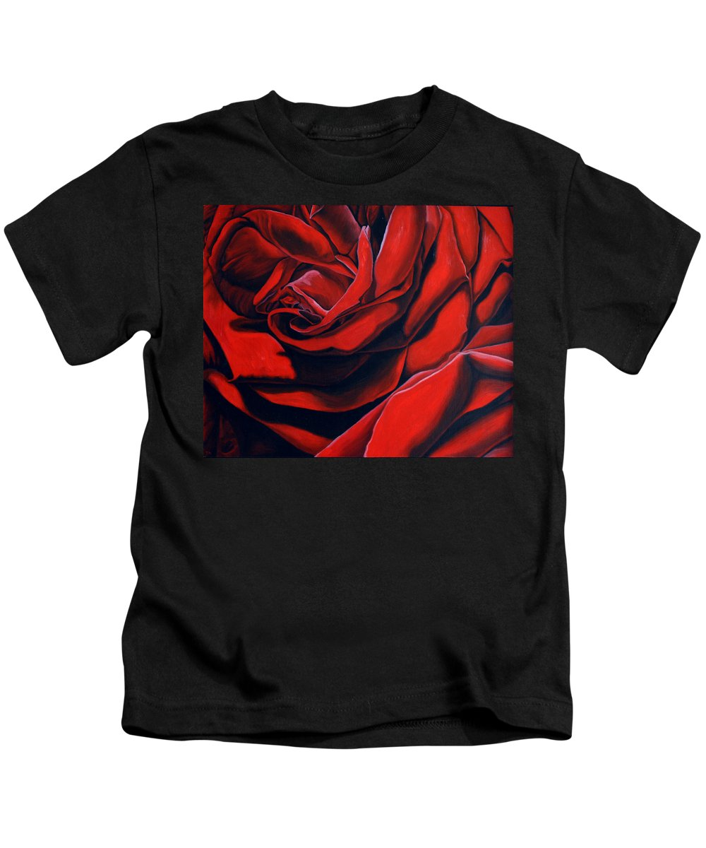 Rose Kids T-Shirt featuring the painting February Rose by Thu Nguyen