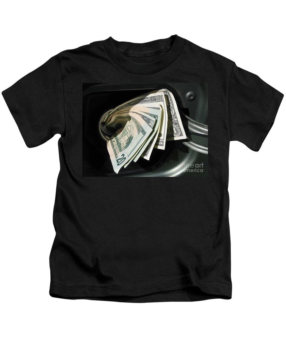 Car Kids T-Shirt featuring the photograph Feeding The Gas Tank by Ann Horn