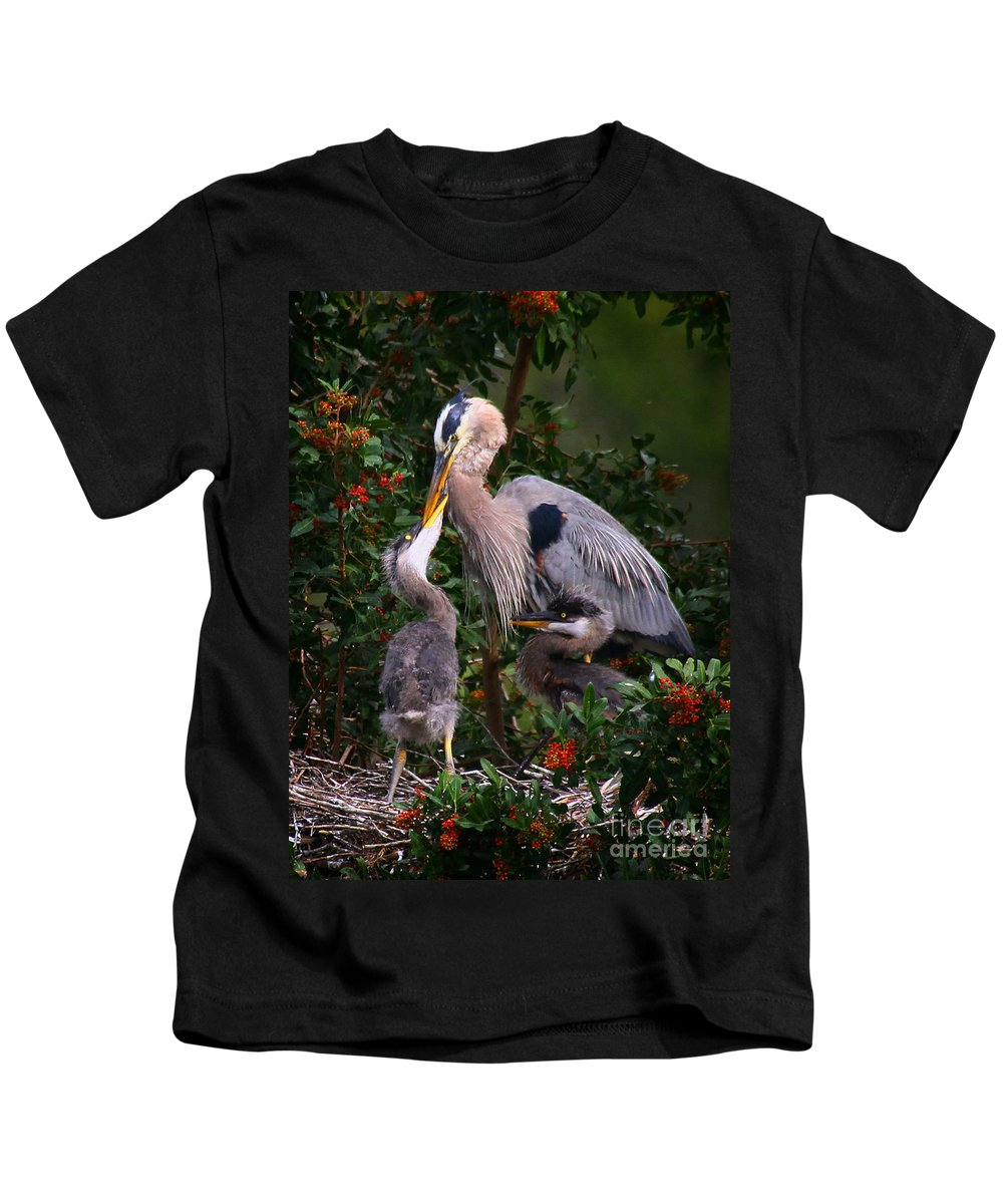 Great Blue Heron Kids T-Shirt featuring the photograph Feeding Time by Barbara Bowen