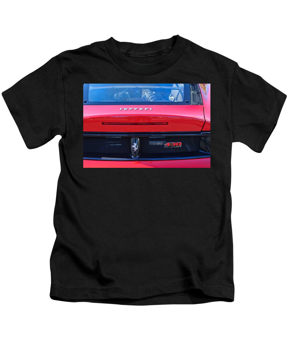 Ferrari Scuderia 430 Rear Emblems Kids T-Shirt featuring the photograph Ferrari Scuderia 430 Rear Emblems by Jill Reger