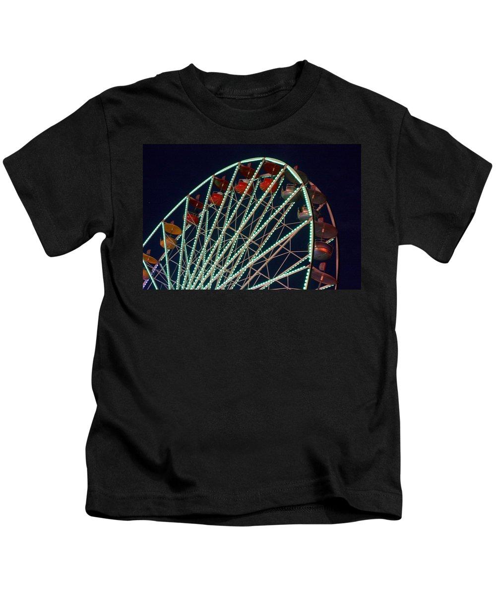 Ferris Wheel Kids T-Shirt featuring the photograph Ferris Wheel After Dark by Joe Kozlowski