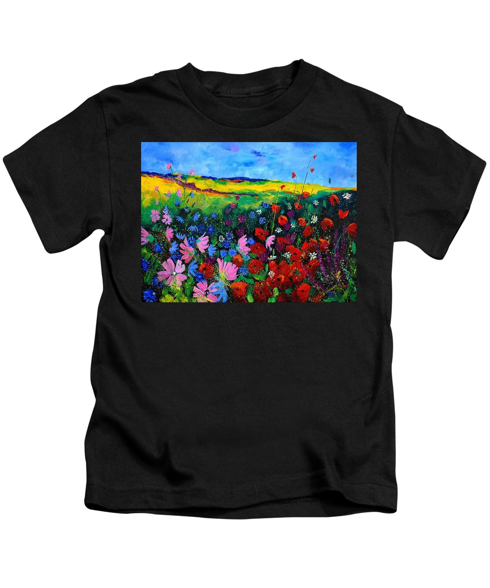 Poppies Kids T-Shirt featuring the painting Field Flowers by Pol Ledent