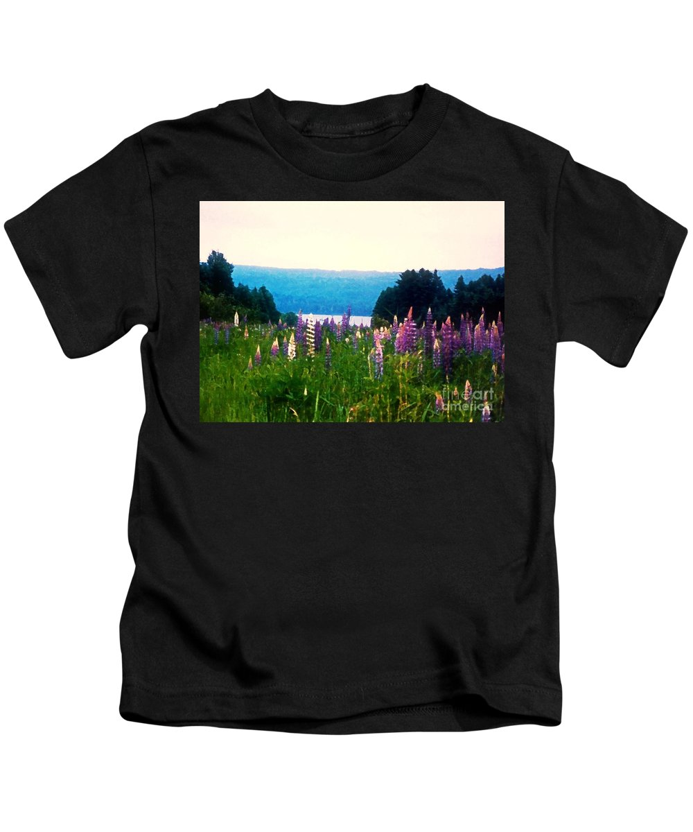 Lupines Kids T-Shirt featuring the photograph Field Of Lupines by Desiree Paquette