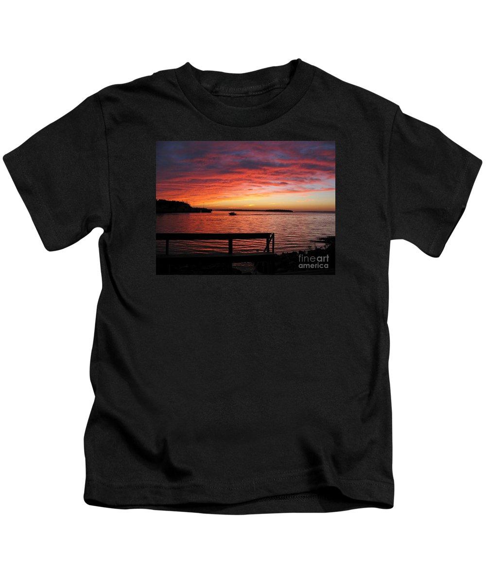 Sunset Kids T-Shirt featuring the photograph Fiery Afterglow by Ann Horn