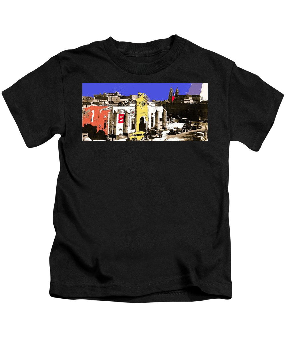 Final Days Of San Agustine Cathedral 1863-1936 Cole Brothers Circus Poster Tucson Arizona Color Added George W. Chambers Photo Kids T-Shirt featuring the photograph Final Days Of San Agustine Cathedral 1863-1936 Circus Poster Tucson Arizona 1936-2013 by David Lee Guss