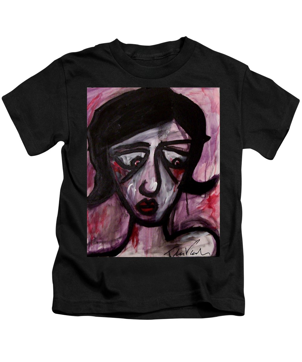 Portait Kids T-Shirt featuring the painting Finals by Thomas Valentine