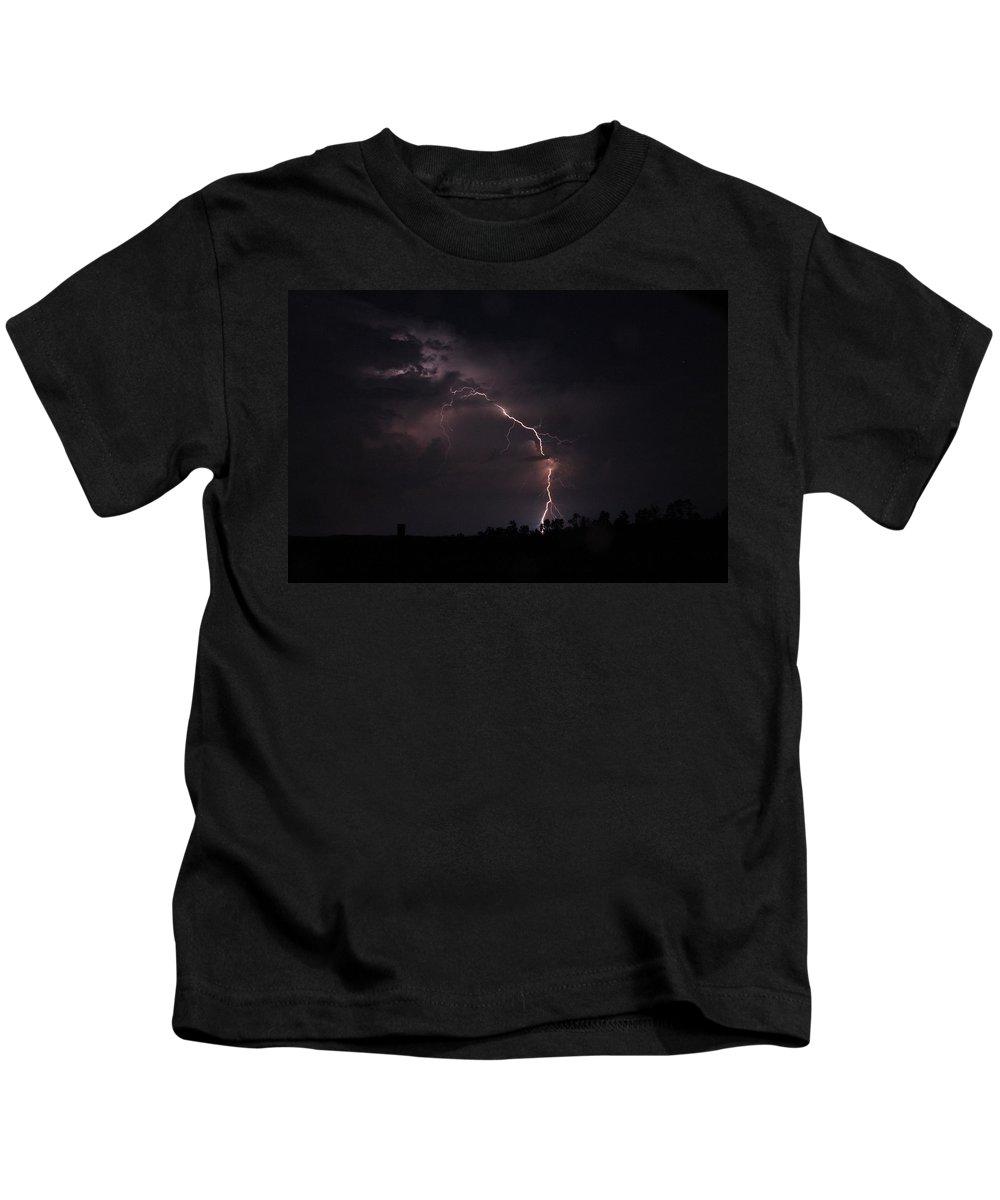 Lightning Kids T-Shirt featuring the photograph Fine Line by Reid Callaway