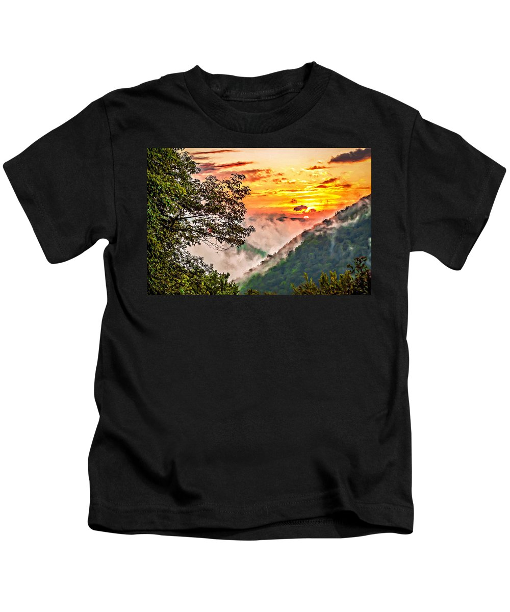 Babcock State Park Kids T-Shirt featuring the photograph Fire In The Hole - Painted by Steve Harrington