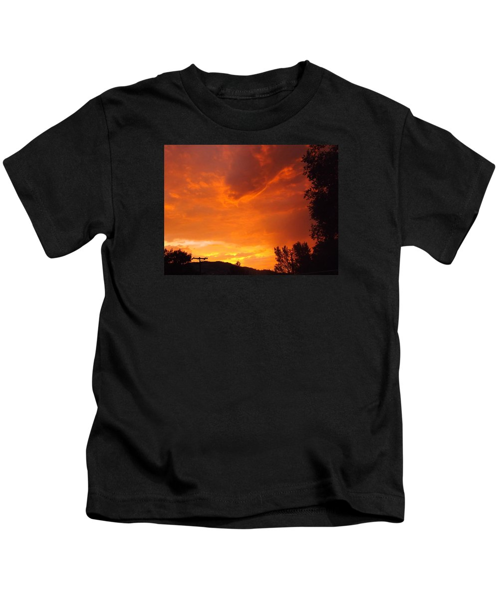 Landscape Kids T-Shirt featuring the photograph Fire In The Sky by Lorna Hooper
