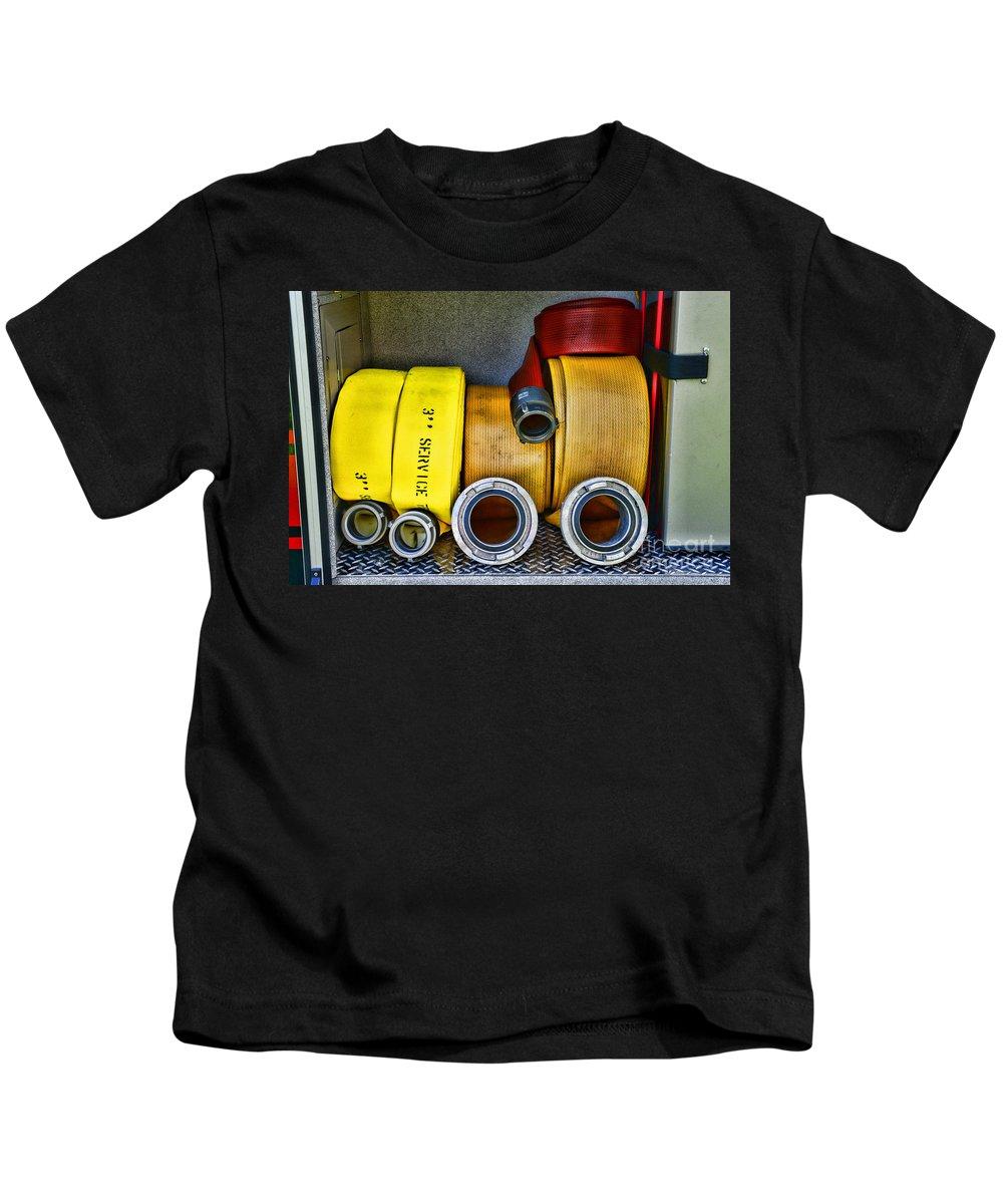 Paul Ward Kids T-Shirt featuring the photograph Fireman - The Fire Hose by Paul Ward